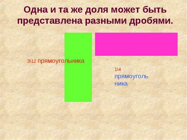 Одна и та же доля может быть представлена разными дробями. 3\12 прямоугольник...