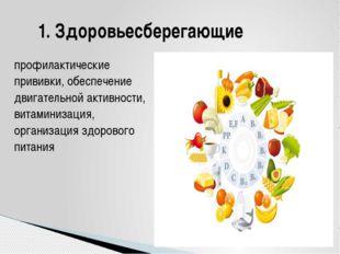 профилактические прививки, обеспечение двигательной активности, витаминизация