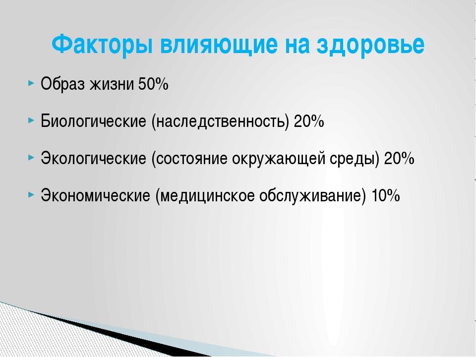 Образ жизни 50% Биологические (наследственность) 20% Экологические (состояние...