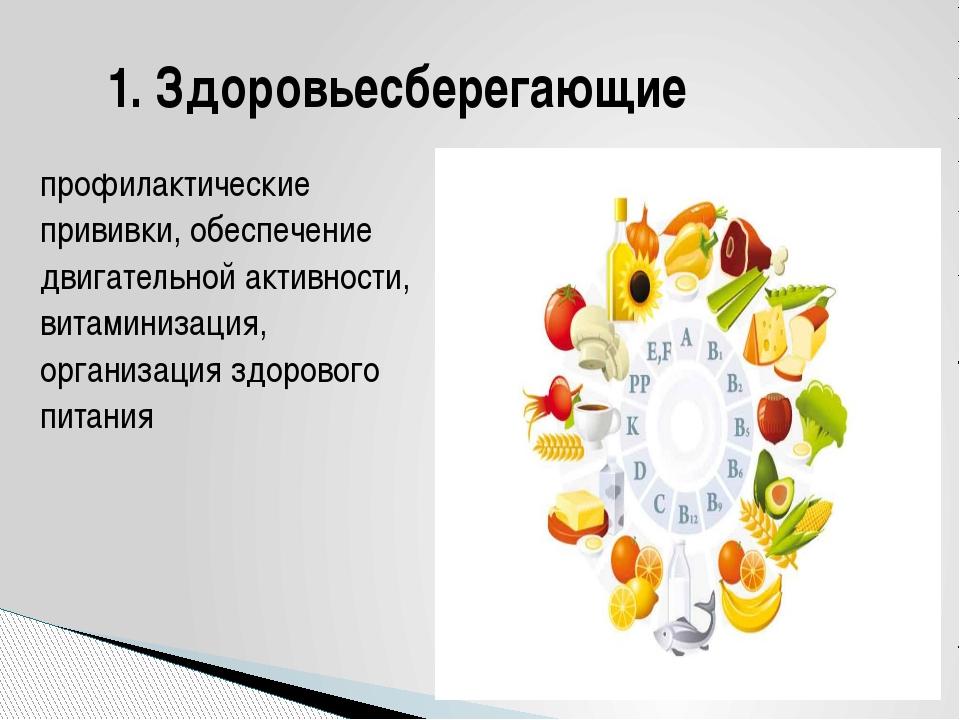 профилактические прививки, обеспечение двигательной активности, витаминизация...