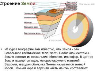 Строение Земли Из курса географии вам известно, что Земля - это небольшое кос