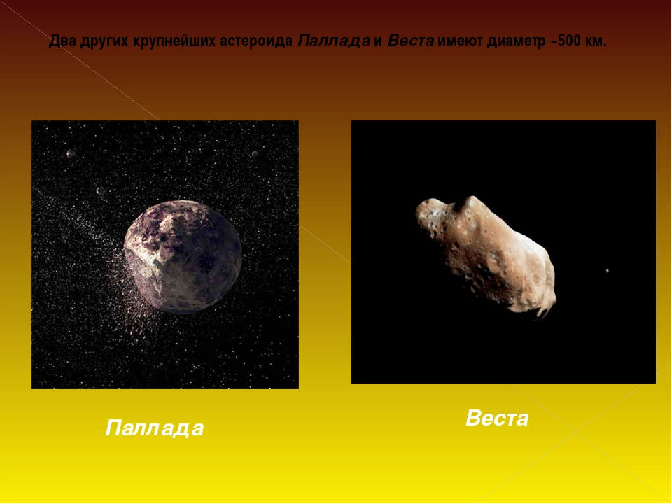 Два других крупнейших астероида Паллада и Веста имеют диаметр ~500км. Паллад...