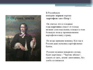 Пётр первый В Российскую империюпервуюпартию картофелязавезПетрI . Он с