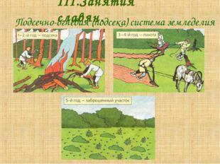 Подсечно-огневая (подсека) система земледелия III.Занятия славян.