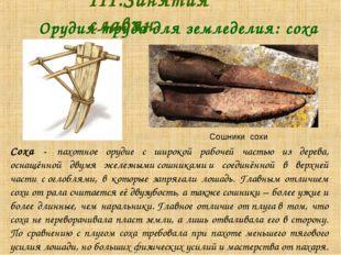 Орудия труда для земледелия: соха III.Занятия славян. Соха - пахотное ору
