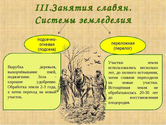 III.Занятия славян. Системы земледелия подсечно-огневая (подсека) переложная...