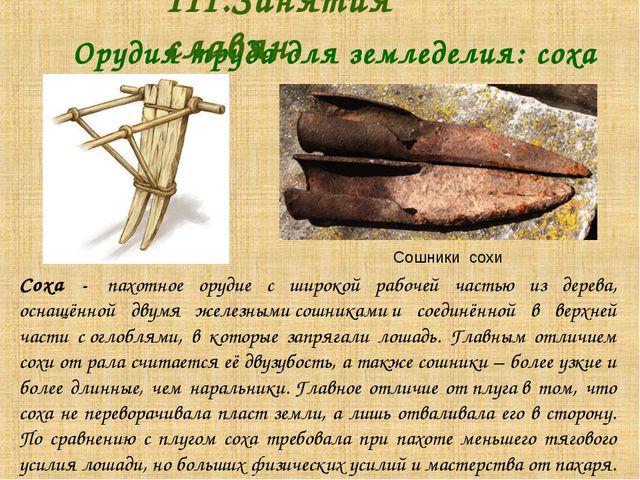 Орудия труда для земледелия: соха III.Занятия славян. Соха - пахотное ору...