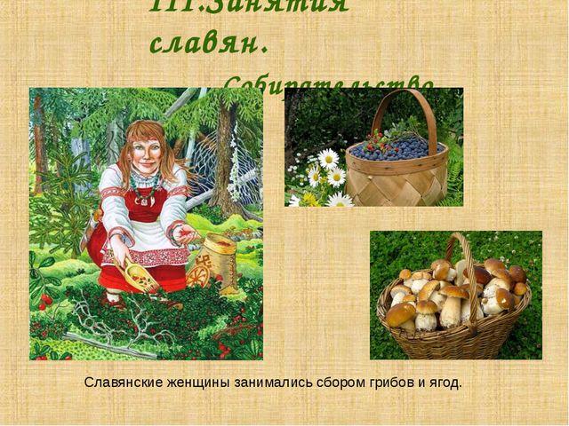 III.Занятия славян. Собирательство. Славянские женщины занимались сбором...