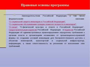 Правовые основы программы Законодательством Российской Федерации, в том числе