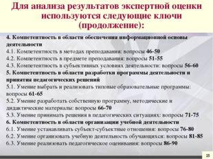 25 4. Компетентность в области обеспечения информационной основы деятельности