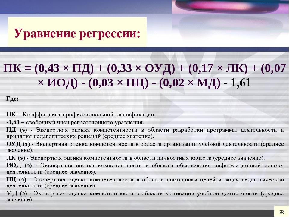 33 ПК = (0,43 × ПД) + (0,33 × ОУД) + (0,17 × ЛК) + (0,07 × ИОД) - (0,03 × ПЦ)...