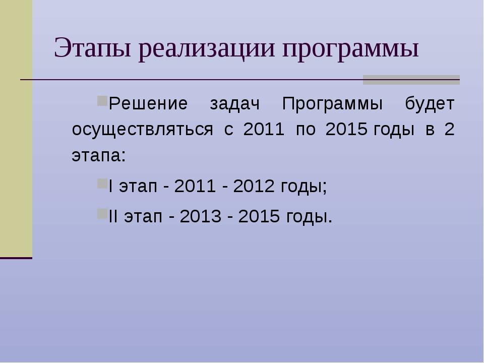 Этапы реализации программы Решение задач Программы будет осуществляться с 201...