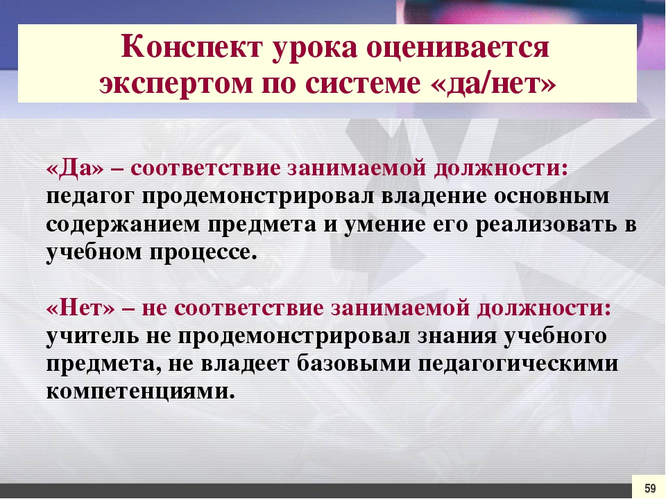 «Да» – соответствие занимаемой должности: педагог продемонстрировал владение...