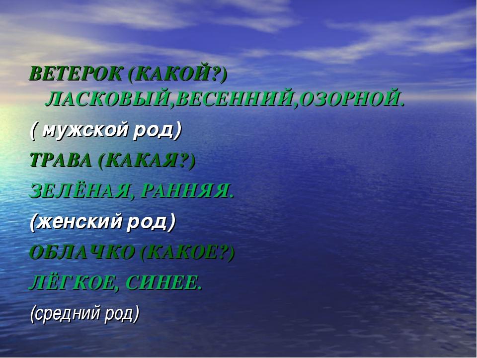 ВЕТЕРОК (КАКОЙ?) ЛАСКОВЫЙ,ВЕСЕННИЙ,ОЗОРНОЙ. ( мужской род) ТРАВА (КАКАЯ?) ЗЕ...