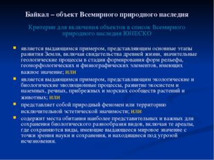 Байкал – объект Всемирного природного наследия Критерии для включения объекто