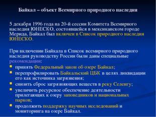 Байкал – объект Всемирного природного наследия 5 декабря 1996 года на 20-й се