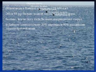 Объем воды в Байкале составляет 23600км3 Это в 95 раз больше водной массы А