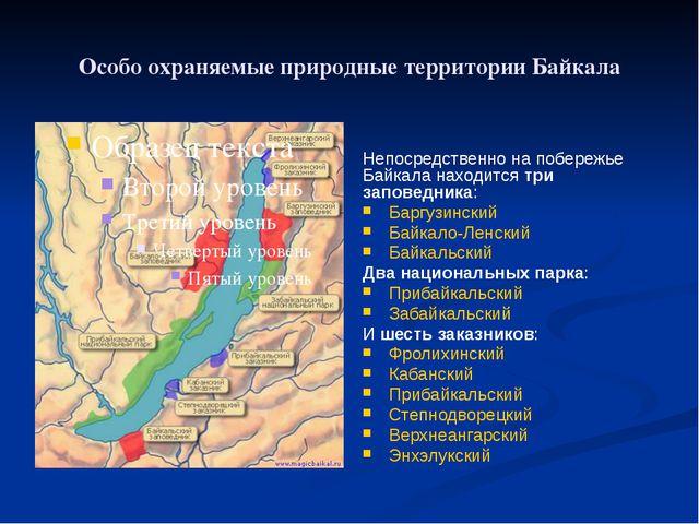 Особо охраняемые природные территории Байкала Непосредственно на побережье Ба...