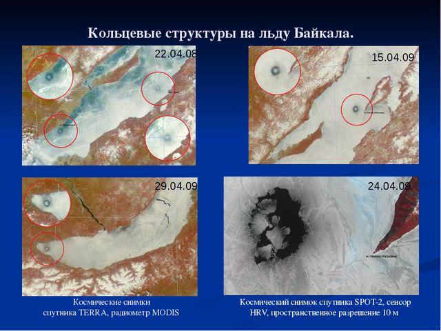 Кольцевые структуры на льду Байкала. Космические снимки спутника TERRA, радио...