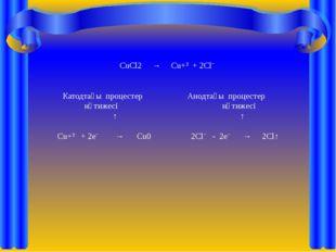 CuCl2 → Cu+² + 2Clˉ Катодтағы процестер Анодтағы процестер нәтижесі нәтижесі