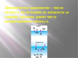 Динамическое равновесие – число молекул, вылетевших из жидкости за единицу вр
