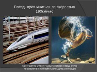 Поезд- пуля мчиться со скоростью 190км/час Конструктор Эйдзи Накацу изобрел п