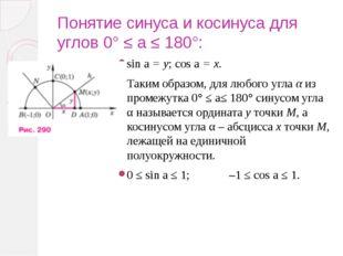 Понятие синуса и косинуса для углов 0° ≤ a ≤ 180°: sin a = y; соs a = х. Таки