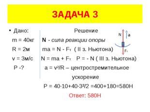 ЗАДАЧА 3 Дано: Решение m = 40кг N - сила реакции опоры R = 2м ma = N - FT ( I