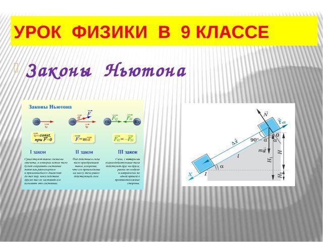 УРОК ФИЗИКИ В 9 КЛАССЕ Законы Ньютона