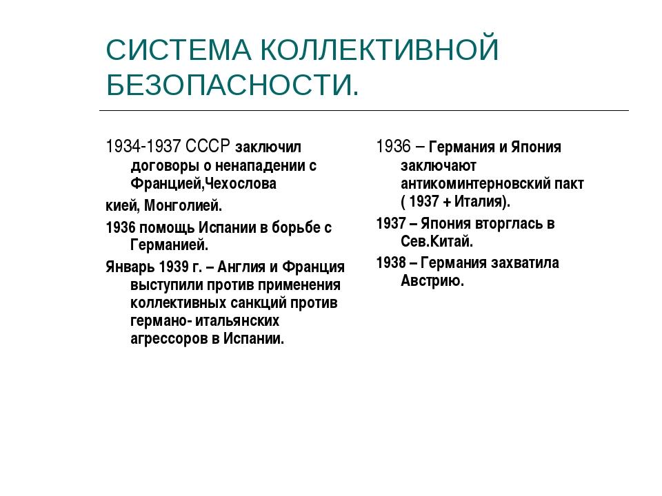 СИСТЕМА КОЛЛЕКТИВНОЙ БЕЗОПАСНОСТИ. 1934-1937 СССР заключил договоры о ненапад...