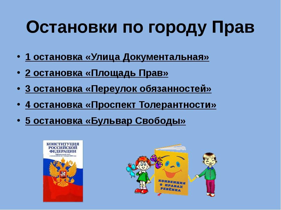 Остановки по городу Прав 1 остановка «Улица Документальная» 2 остановка «Площ...