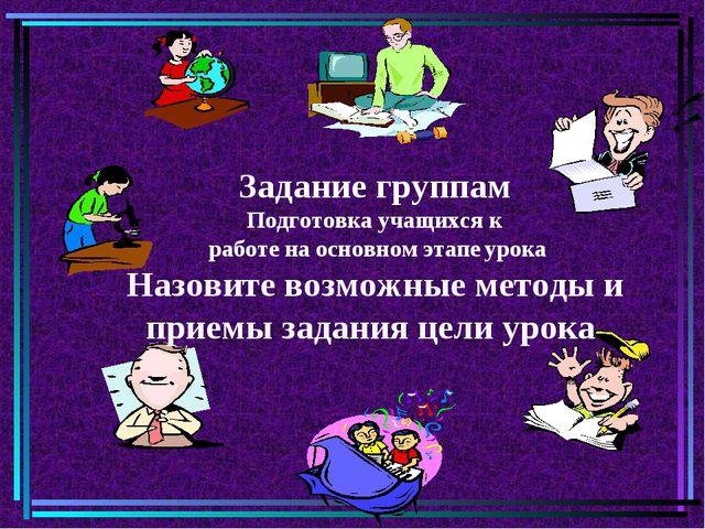 Задание группам Подготовка учащихся к работе на основном этапе урока Назовите...