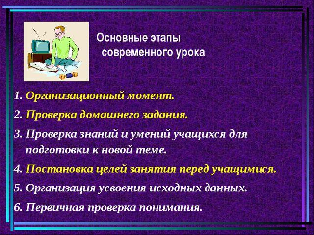 Основные этапы современного урока 1. Организационный момент. 2. Проверка дом...