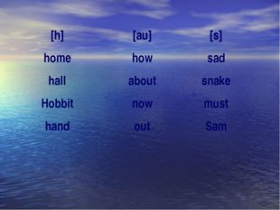 [h] home hall Hobbit hand [au] how about now out [s] sad snake must Sam