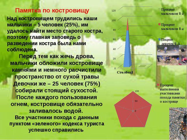 Над костровищем трудились наши мальчики – 5 человек (25%), им удалось найти м...