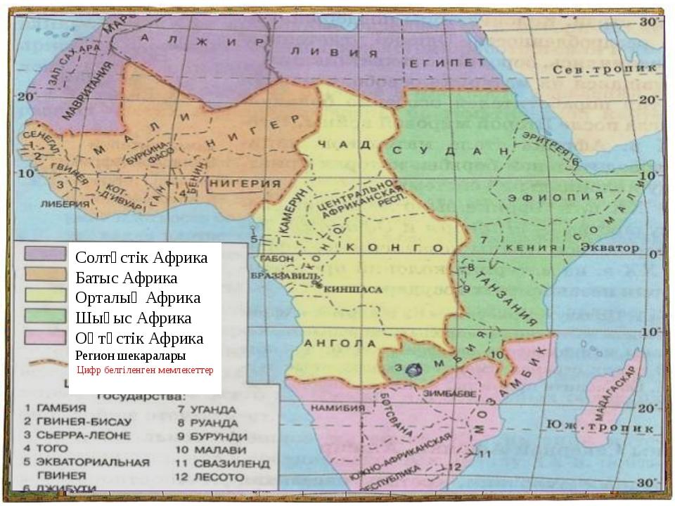 Солтүстік Африка Батыс Африка Орталық Африка Шығыс Африка Оңтүстік Африка Рег...