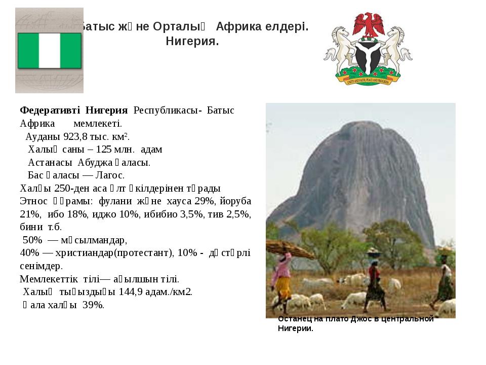 Батыс және Орталық Африка елдері. Нигерия. Федеративті Нигерия Республикасы-...