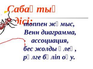 Сабақтың әдісі: топпен жұмыс, Венн диаграмма, ассоциация, бес жолды өлең, рөл