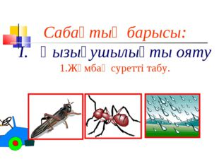 Сабақтың барысы: І. Қызығушылықты ояту 1.Жұмбақ суретті табу. Өзі қара, шекіл