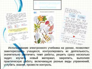 Использование электронного учебника на уроках, позволяют заинтересовать уч