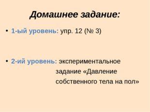 Домашнее задание: 1-ый уровень: упр. 12 (№ 3) 2-ий уровень: экспериментальное