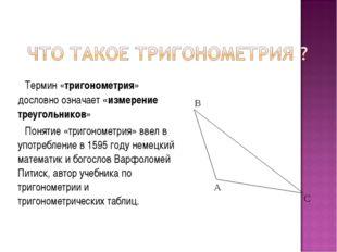 Термин «тригонометрия» дословно означает «измерение треугольников» Понятие «т