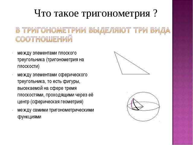 между элементами плоского треугольника (тригонометрия на плоскости) между эле...