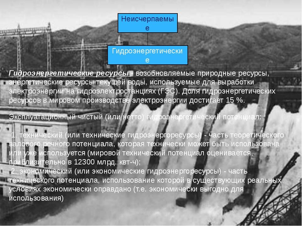 Неисчерпаемые Гидроэнергетические Гидроэнергетические ресурсы - возобновляемы...