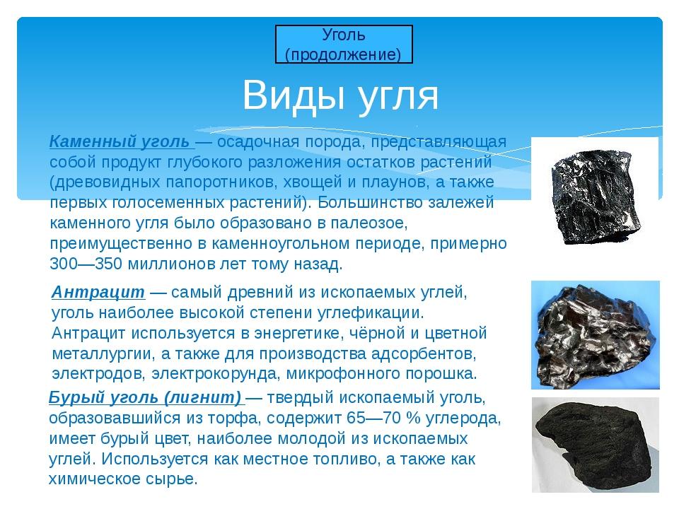 Виды угля Уголь (продолжение) Антрацит — самый древний из ископаемых углей, у...