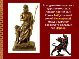 В подземном царстве – царстве мертвых правил третий сын Крона Аид со своей же