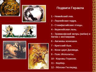 Подвиги Геракла 1- Немейский лев. 2- Лернейская гидра. 3- Стимфалийские пт
