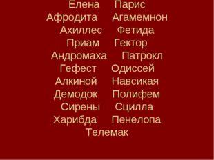Елена Парис Афродита Агамемнон Ахиллес Фетида Приам Гектор Андромаха Патрокл