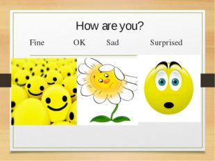 How are you? Fine OK Sad Surprised
