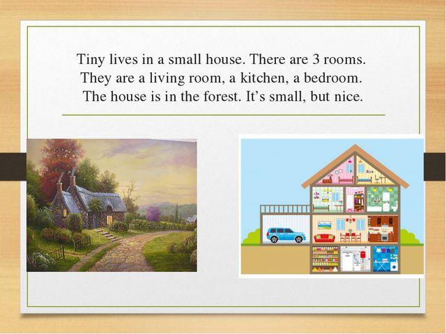 Tiny lives in a small house. There are 3 rooms. They are a living room, a kit...